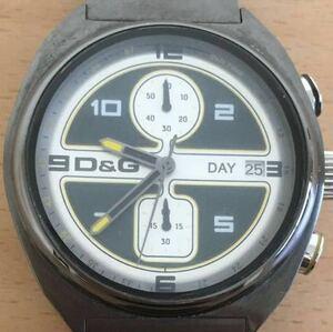 863-0708 D&G DOLCE&GABBANA ドルチェアンドガッバーナ メンズ腕時計 クォーツ クロノグラフ 黒 ブラック 電池切れ 動作未確認