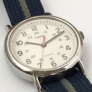 857-0197 TIMEX タイメックス メンズ腕時計 ナイロンベルト 紺色 電池切れ 動作未確認