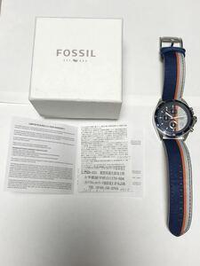 874-0151 FOSSIL フォッシル メンズ腕時計 クォーツ クロノグラフ ナイロン×革ベルト CH2957 電池切れ 動作未確認