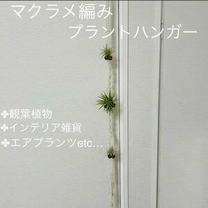 新品未使用☆マクラメ編み☆三つ穴プラントハンガー☆エアプランツホルダー☆観葉植物☆インテリア☆オシャレ