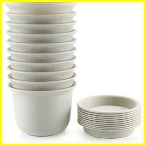 新品T4U 13CM プラスチック製 植木鉢 プランター 多肉植物 サボテン鉢 受け皿付き ホワイト 10点セット4LLP