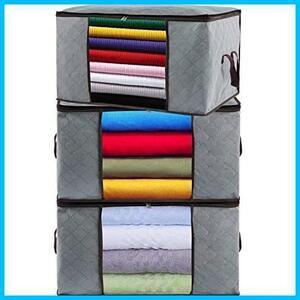 新品布団収納袋 3枚組 衣類 収納袋 不織布 大容量 羽毛布団 ふとん 毛布 衣類収納ケース 活性炭消臭 防水 防塵E8IS