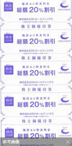 ■AOKI アオキ 快活CLUBコート・ダジュール20%割引 株主優待券5枚