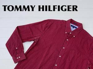 ☆送料無料☆ TOMMY HILFIGER トミーヒルフィガー USA直輸入 古着 長袖 チェック ボタンダウン シャツ メンズ 17 レッド トップス 中古