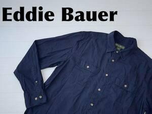☆送料無料☆ Eddie Bauer エディーバウアー 古着 長袖 フラップポケット シャツ メンズ L ダークネイビー トップス 中古 即決