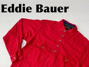 ☆送料無料☆ Eddie Bauer エディーバウアー USA直輸入 古着 90's 長袖 ポロシャツ メンズ S レッド トップス 中古 即決