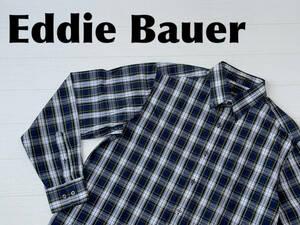 ☆送料無料☆ Eddie Bauer エディーバウアー 古着 長袖 チェック ボタンダウン リラックスフィット シャツ メンズ M ネイビー トップス