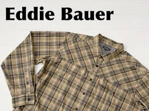 ☆送料無料☆ Eddie Bauer エディーバウアー 古着 長袖 チェック ポリエステル シャツ メンズ XL グレー トップス 中古 即決