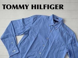 ☆送料無料☆ TOMMY HILFIGER トミーヒルフィガー USA直輸入 古着 長袖 チェック ボタンダウン シャツ メンズ 15 1/2 ブルー トップス 中古