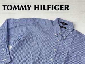 ☆送料無料☆ TOMMY HILFIGER トミーヒルフィガー USA直輸入 古着 長袖 チェック ボタンダウン シャツ メンズ 17 1/2 ブルー トップス 中古