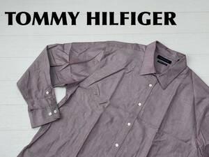 ☆送料無料☆ TOMMY HILFIGER トミーヒルフィガー USA直輸入 古着 長袖 オックスフォード シャツ メンズ 17 1/2 パープル トップス 中古