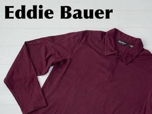 ☆送料無料☆ Eddie Bauer エディーバウアー 古着 長袖 レーヨン混 ポロシャツ メンズ L ワインレッド トップス 中古 即決