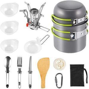 キャンプ用食器 キャンプクッカーセット 調理セット 登山用鍋 食器 ポータブル