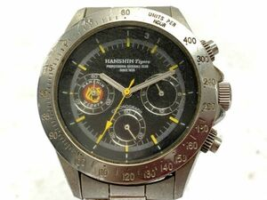 F018-O10-147 HANSHIN Tigers 阪神タイガース HT-V クォーツ クロノグラフ アナログ シルバー 黒文字盤 メンズ腕時計 ①◎