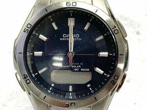 F012-O9-484 CASIO カシオ wave ceptor ウェーブセプター MULTI BAND 6 タフソーラー アナデジ シルバー ネイビー系 メンズ腕時計 ①◎