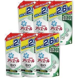 アリエール バイオサイエンスジェル 部屋干し 詰め替え ウルトラジャンボ 2.6倍 洗濯洗剤 抗菌 1800g 6袋セット