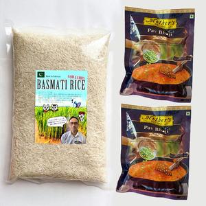 oo★ 米 バスマティライス 1kg と Mother's Recipe カレーペースト パウバジ 100g 2袋