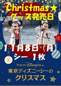 11月8日(月) 東京ディズニーシー パスポート 1枚  抽選入園 チケット ワンデー クリスマスグッズ販売初日