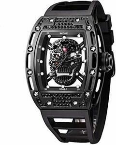 黒-ダイヤモンド スカル腕時計 夜光 クォーツ 腕時計 長方形 文字盤 防水 スポーツ ブラック シリコーン 腕時計 メンズ ユ