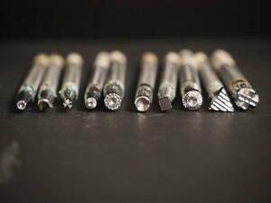 2【送料無料】 レザークラフト カービング 刻印 10本セット 工具 革 革細工 スタンプ 中古品
