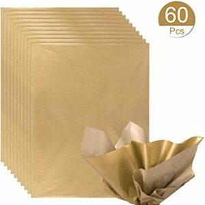 ゴールド NALER クリスマス ラッピング ペーパー ゴールド ギフト 包装紙 38x50cm 薄葉紙 約60枚入れ
