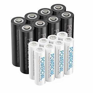 単3単4形16個 Powerowl単4単3形充電式ニッケル水素電池16個パック 超大容量 PSE安全認証 自然放電抑制 環境保護