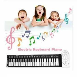 新品 シリコン 49キー フレキシブル 子供 デジタルキーボードピアノ 電子ロールアップピアノ 内蔵スピーカー ポーOM12