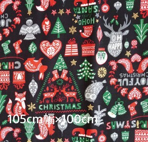 シーチング生地 日本製 メリークリスマス 105×100cm marry xmas