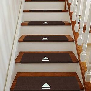 RAIN QUEEN 階段マット 蛍光 階段カーペットマット 矢印 吸着蓄光 防音 キズ防止 滑り止めマット 折り曲げ付 階段クッション 15枚入り
