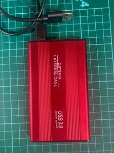 外付けポータブルHDD USB3.0 赤 640GB ケース新品 大容量