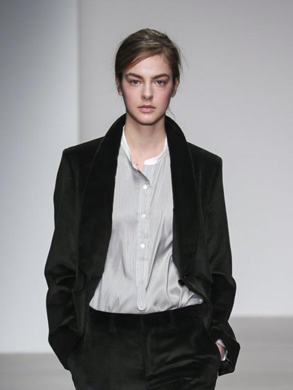14AW■MARGARET HOWELL シルクのカラーレスシャツ (I)■ 襟なし ANATOMICA Brooks Brothers マッキントッシュフィロソフィー ドレステリア