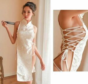 ◆激安◆超セクシー 大胆で過激なデザイン チャ ワンピース Tバックショーツ付 露出 コスプレ 衣装 仮装 誘惑 白