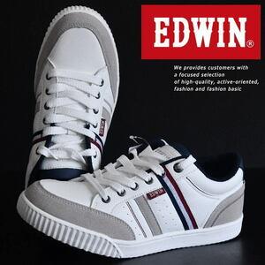 EDWIN スニーカー メンズ エドウィン ブランド シューズ 靴 軽量 おしゃれ EDWH7036 ホワイト/ネイビー 25.5cm 新品 1円 スタート