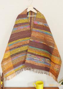 古布リメイク 裂織 裂き織り 色色ミックスブラウン 風呂敷・着物・浴衣地などx綿麻糸 ハンドメイド