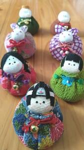 【手作り】お手玉ちりめん人形7個セット【ハンドメイド】