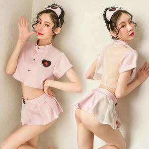 最新作..コスプレ衣装看護婦.ナース服.可愛らしくセクシー.ミニスカート+トップス+Tバック+カチューシャ.艶かしい.ベビードール
