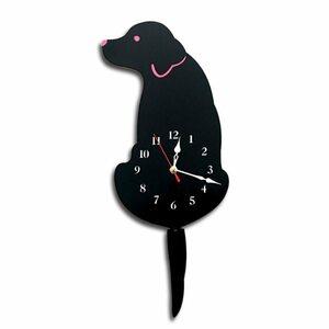 ウォールクロック かわいい 振り子時計 尾 犬 壁時計 壁掛け 壁付け 子ども部屋 寝室 装飾 インテリア ユニーク