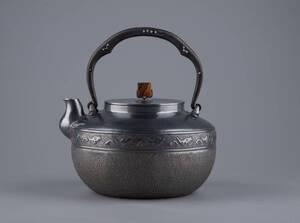 純銀保証 蔵六居造 如意鎖紋 琥珀摘み 湯沸 銀瓶 時代物 古美術品 煎茶道具