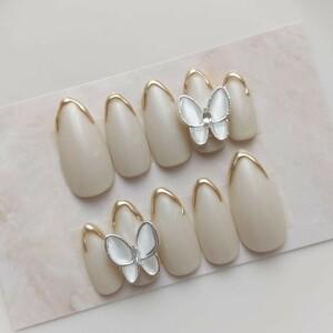ネイルチップ 現品 バタフライ グレイッシュホワイト ミラー ゴールド 蝶々