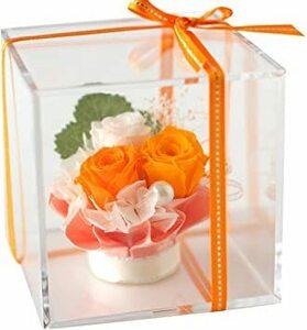 オレンジ Azurosa(アズローザ) プリザーブドフラワー ギフト枯れない花 バラ アジサイ クリアキューブ オレンジ 【ラ