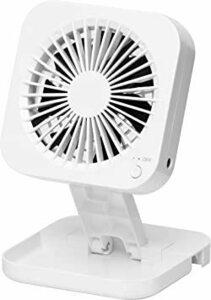収納 [山善] 扇風機 10cm 押しボタンスイッチ ポップアップ デスクファン 風量2段階調節 2電源対応 AC USB ホワ