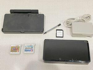 ニンテンドー3DS コスモブラック本体動作品 送料無料 付属品、ソフト付き Nintendo 任天堂