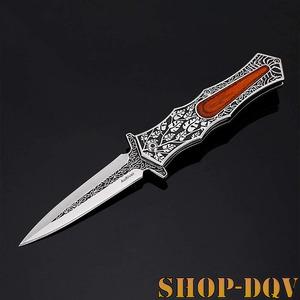 【ヨーロピアン】 折りたたみ フォールディング ナイフ 美しい 造形美 ステンレス 天然木 キャンプ 釣り アウトドア bbq