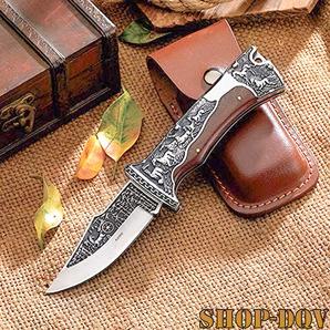 ヨーロピアン フルタング フォールディング ナイフ 美しい造形美 ステンレススチール シースナイフ 観賞用 折りたたみ ブレード