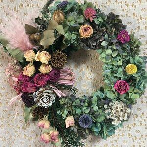 ドライフラワーリース、ハロウィン、クリスマス、ピンクのパンパスとバラの華やかな北海道産秋色紫陽花!