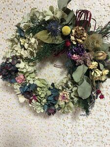 ドライフラワーリース、ハロウィン、クリスマスに、落ち着いたグリーン系北海道産秋色紫陽花。