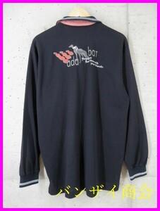 6101b23◆良品です◆吸汗速乾◆adabat アダバット 豪華刺繍 長袖ドライポロシャツ 5/日本製/ゴルフシャツ/メンズ/男性/紳士