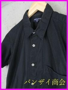 9101s2◆日本製◆COMME des GARCONS コムデギャルソン メッシュ切替 半袖コットンシャツ S/ブラック/黒/メンズ/男性