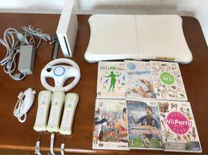 Wiiセット 本体+リモコン3本+ハンドル1個+ヌンチャク1個+ソフト6本+wiifit