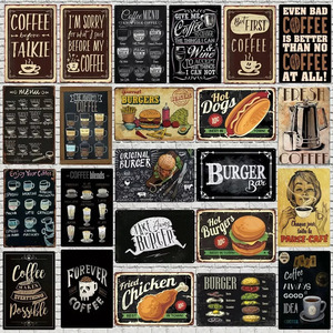 レトロ風 看板 壁掛け カフェ 喫茶店 軽食 ハンバーガー 20*30cm
